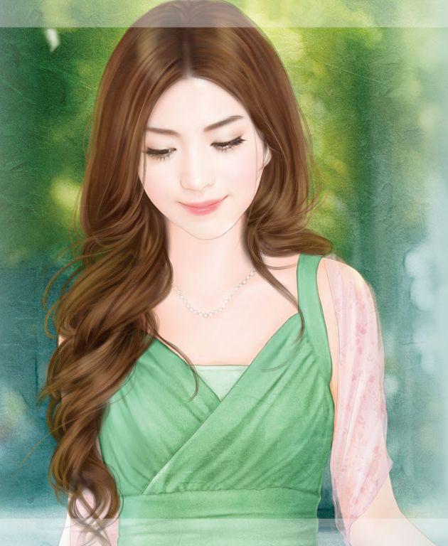 美女读书手绘图片